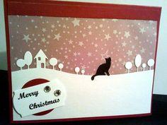 Weihnachtskarte für Katzenfreunde