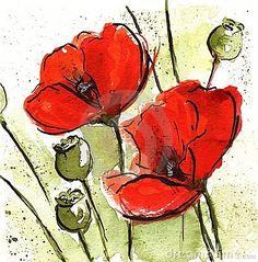 Diseño floral con las amapolas