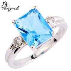 lingmei Wholesale Uuisex Jewelry Blue & White CZ Silver Ring Size 6 7 8 9 10 Fashion Women Gift Free Shipping