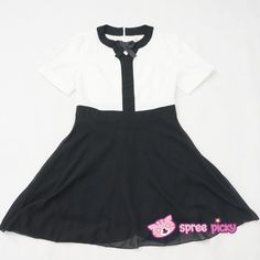 S-XL Black/White OL A Shape Bow Dress SP151955 - SpreePicky  - 14 Material: made of cotton and polyester fiber