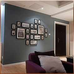 Not crazy about the lay out (a little stiff) but love the wall color with the black frames and white matting