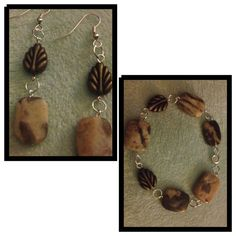 Rectangular bead bracelet and earring set.  Matching necklace not photographed.