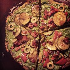 Butternut squash crust pesto pizza. #glutenfree #vegan