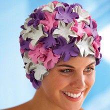 """Bonnet de bain à fleurs """"pétales"""" rose, violet et blanc"""