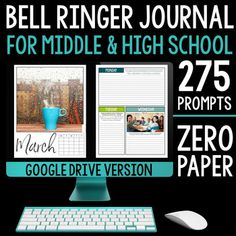 DIGITAL bell ringer journal for the entire school year including 275 journal prompts for middle and high school students. This 100% digital product provides teachers with an entire school year of journal prompts in an organized and focused way without using any printing or