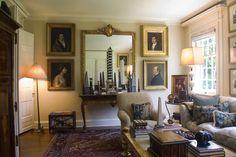 Portraits, antiques and rug - Timothy Corrigan's Hancock Park home