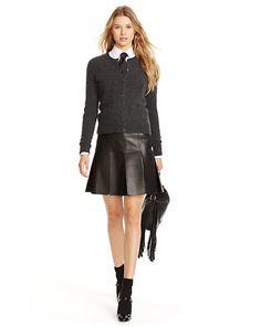 Pleated Leather Skirt - Short Skirts  Skirts - RalphLauren.com