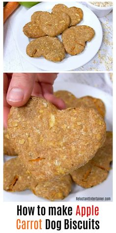 How to make Apple Carrot Dog Biscuits is an easy recipe. Homemade dog biscuits are the perfect hostess gift or stocking stuffer for your dog-loving friends. Homemade Dog Cookies, Homemade Dog Food, Homemade Shampoo, Diy Dog Treats, Healthy Dog Treats, Pumpkin Dog Treats, Puppy Treats, Dog Biscuit Recipes, Dog Food Recipes