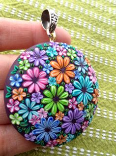 Polymer Clay Colorful Flower Pendant  Find me at Etsy