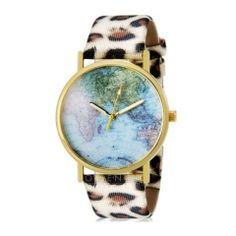 Zegarek z panterkowym paskiem mapa świata panterka