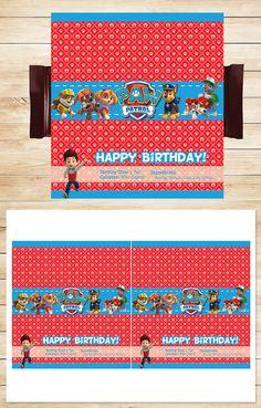Free Paw Patrol Printables: Free Printable Paw Patrol Candy Wrapper | Red BG Theme