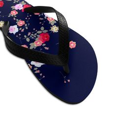 (1) Navy Blue Floral Rose Print Unisex Flip-Flops Beach Pool Cute Sandals- Made in USA   Heidi Kimura Art LLC Floral Flip Flops, Beach Flip Flops, Floral Print Shoes, Floral Prints, Designer Flip Flops, Flip Flop Shoes, Womens Flip Flops, Beach Shoes, Cute Sandals