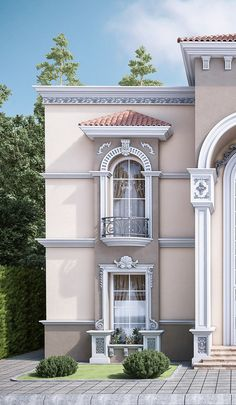 New Exterior Villa Design Ideas Classic House Exterior, Classic House Design, Exterior House Colors, Modern House Design, Modern Exterior, Villa Design, Facade Design, Exterior Design, House Outside Design