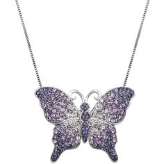 Artistique Crystal Sterling Silver Butterfly Pendant Necklace ($90) ❤ liked on Polyvore featuring jewelry, necklaces, purple, purple necklace, sterling silver necklace pendant, chain necklaces, swarovski crystal pendant and crystal necklace