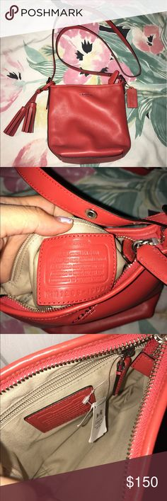 Coach Legacy Mini Duffle Leather Legacy Mini Duffle bag // Beautiful red/orange (carnelian) color //  Brand new & never been used. Coach Bags Crossbody Bags
