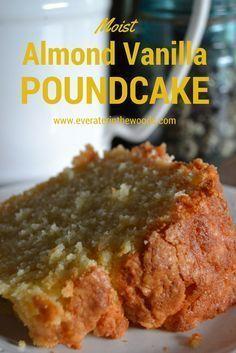 Moist and Delicious Vanilla Almond Pound Cake Vanilla almond pound cake! Pound cake is one of my favorite things to make. Pound cake is one of my favorite things to make. Just Desserts, Delicious Desserts, Dessert Recipes, Yummy Food, Almond Pound Cakes, Pound Cake Recipes, Best Pound Cake Recipe Ever, Perfect Pound Cake Recipe, Sweets