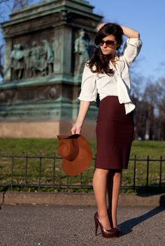 Abbey looks #classic in this burgundy trend and @Krista McNamara Hanes Hosiery Thigh Highs for a day in D.C. #BetterThanBare