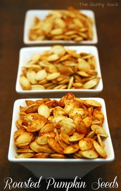 Recipes for garlic, seasoned salt, and ranch roasted seeds plus link to recipe for bacon roasted seeds.