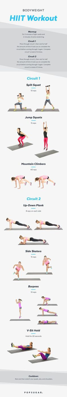 Bodyweight HIIT Workout | Lose Weight, Build Muscle: This HIIT Circuit Burns Calories Well After the Workout Is Over | POPSUGAR Fitness Photo 8 burn fat build muscle