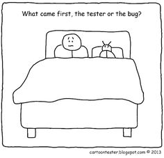 Cartoon Tester: What came first? Programmer Humor, Funny Memes, Jokes, Software Testing, First They Came, Coding, Lol, Cartoon, Sarcasm