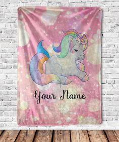 Personalized Unicorn Blanket – This would make the perfect baby shower gift for that new mom to be! Give this warm, silky, cozy, luxurious, ideal for snuggling unicorn blanket as a gift to your loved ones. Personalized Throw Blanket, Personalised Blankets, Valentine Gifts For Kids, Baby Monogram, Baby Girl Blankets, Personalized Gifts, Birthday Gifts, Unicorn, Throw Blankets