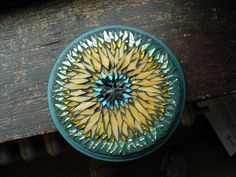 """Tiffany Mandala by Margaret Almon    Stained glass, glass tile, gold smalti on wood, 8"""""""