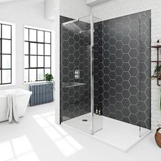 Mode spacious walk in shower enclosure with tray and hinged return panel – Home living color wall treatment kitchen design Wet Room Shower, Walk In Shower Enclosures, Bathroom Renovations, Bathroom Ideas, Bathroom Inspo, Loft Bathroom, Bathroom Inspiration, Bathroom Wet Wall, Bathroom Showers