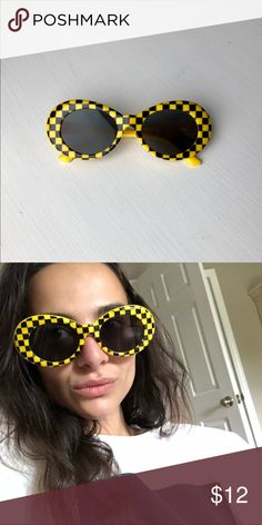 """3545640621 Black   Yellow Clout Goggles Kurt Cobain glasses or """"clout goggles"""" • round  oval"""