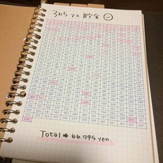 blue + grid loose leaf + pink saving in 365 days