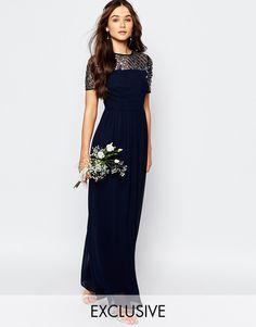 Image 1 of Maya Chiffon Maxi Dress with Embellishment Navy Blue Bridesmaid  Dresses 6055b2b22