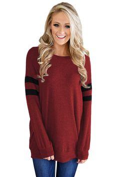 Wine Striped Sleeve Women's Sweatshirt Top only US$20.37 ,free shipping to worldwide!