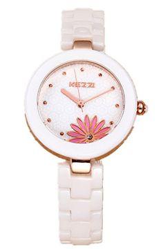 Kezzi Women's Watches K1156 Fashion Luxury Red Lotus Quartz Analog Ceramic Bracelet Gold Watch -