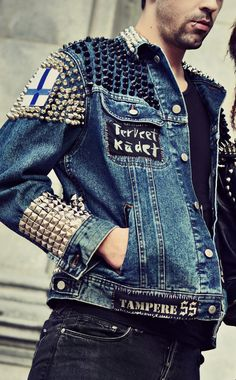 Studded Finnish Punk Denim Jacket - Punk Tampere SS / Appendix / Metal - Men