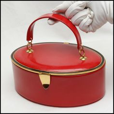 Seductive Red Leather Bienen Davis Vintage Box Handbag 1950's. Superb Design. on Etsy, $273.16 CAD