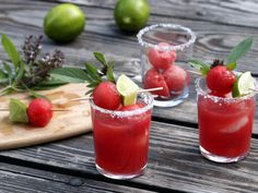 Thai Basil Watermelon Margaritas... I have a thing for decorated summer drinks