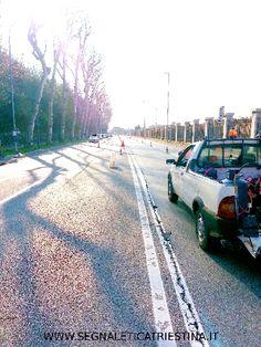 Segnaletica Stradale Triestina - Trieste: preparazione cantiere Viale Miramare
