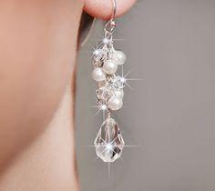 Bridal Earrings, Pearl and Crystal Drop Earrings, Swarovski Crystal Bridal Jewelry, Wedding Earrings, Cluster Earrings