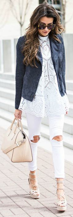 White jeans + super cute paired + classic suede jacket + Christine Andrew + contrasting colours + another dimension to your every day spring look + highly recommend it! Dress: Zimmermann, Shoes: M. Gemi, Jacket: Nordstrom, Jeans: Rag & Bone.