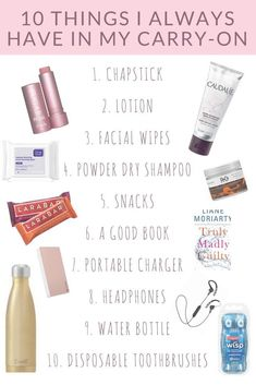 10 Things I Always Have in My Carry-On What to pack in a carry-on bag. Best bea - 10 Things I Always Have in My Carry-On What to pack in a carry-on bag. Best bea 10 Things I Always Have in My Carry-On What to pack in a carry-on bag. Best bea Source by - Travel Packing Checklist, Carry On Packing, Travelling Tips, Packing Tips, Vacation Checklist, Vacation Packing, Vacation Outfits, Summer Outfits, Beauty Essentials