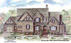 Garrell Associates,Inc. Hill Valley House Plan # 07113, Front Elevation, Traditional Style House Plans, Mountain Style House Plans (4,653 s.f.) Design by Michael W. Garrell