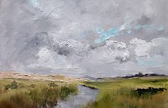 In the end, the painting is finished with blue, white, brown and black hills