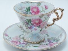 Vintage Tea Cup and Saucer Pink Purple Flowers Lustre Ware Pedestal Foot