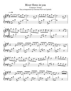 River flows in you (easy arrangement) Easy Piano Sheet Music, Violin Sheet Music, Free Sheet Music, Piano Music, Disney Songs, Disney Music, River Flows In You, Violin Songs, Music Theory