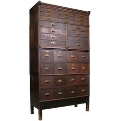 Antique Oak Stacking Apothecary Chest