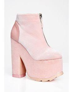 038d7cda63ad Sweet Velvet Nightmare Platform Boots  dollskill  yru  shoes  pink  velvet
