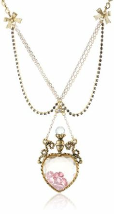 Betsey Johnson Pink Crystal Dachshund Gold Pendant Chain Necklace Free Gift Bag