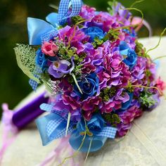 Jewel Tone Faux Floral + Ribbons Wedding Bouquet