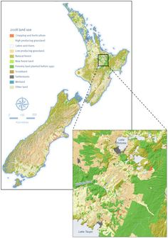 Map of New Zealand showing the land use in 2008. Inset shows the area between Lake Taupo and Lake Rotorua in more detail.