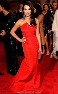 Lea Michele-2011 MET Ball Dresses A-line Floor-length Taffeta Dresses(SCD310)