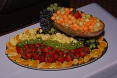 fruit tray with balled melon